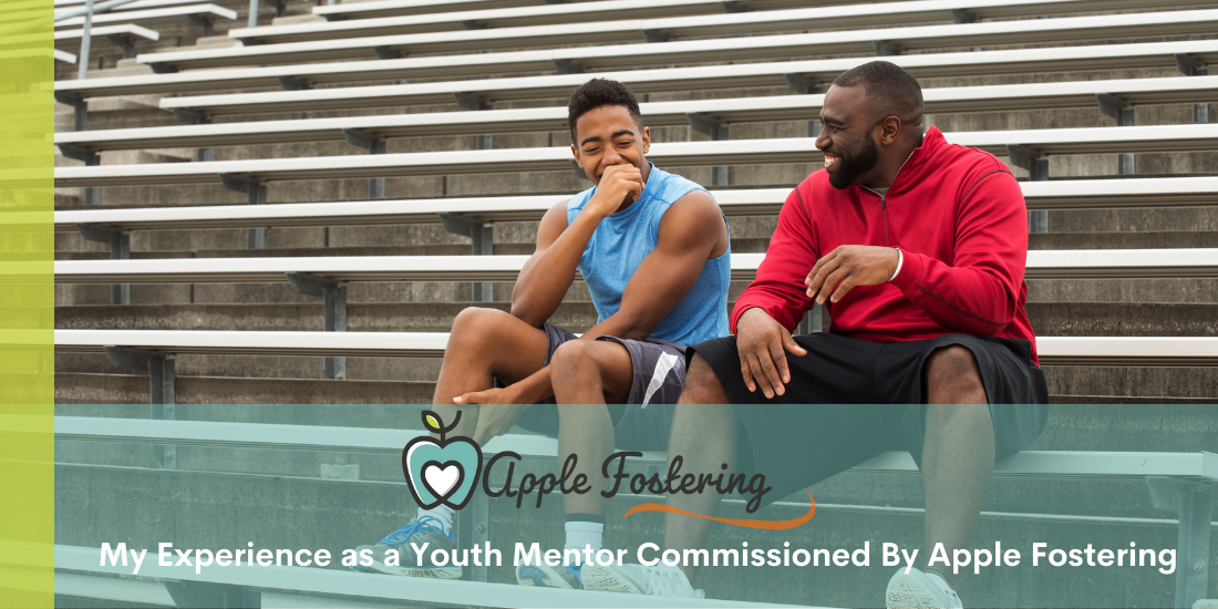 youth mentor and teen smiling